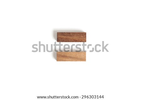 Abstract wood block toy as equal sign. - stock photo