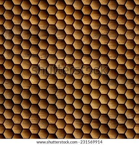 Abstract wooden grid - seamless background - hexagonal grid - honey grid - wood wall - Decorative trim - wood floors - tile pattern - geometric patterns - stock photo