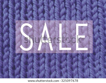 abstract word sale on knitted  background. fashion illustration