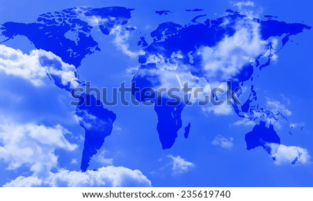 Abstract world map of the sky background. Elements of this image furnished by NASA.   - stock photo