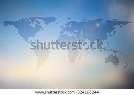 abstract world map on blur blue yellow cream gradient color background:transport backdrop design decorate element ornament:glow light screen wallpaper display concept:geography travel communication - stock photo
