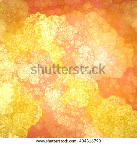abstract wrinkled or crinkled gold and orange painted background design with glassy texture bubbles with lines and gloss highlights in random abstract pattern, cool fresh background design - stock photo