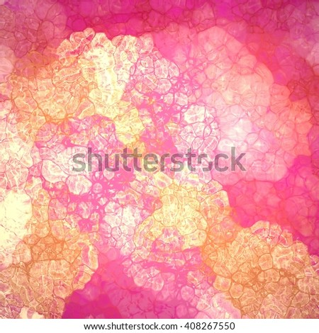 abstract wrinkled or crinkled gold and pink painted background design with glassy texture bubbles with lines and gloss highlights in random abstract pattern, cool fresh background design - stock photo