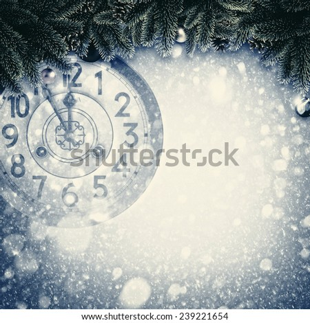 Abstract Xmas backgrounds with old watches and christmas decorations - stock photo