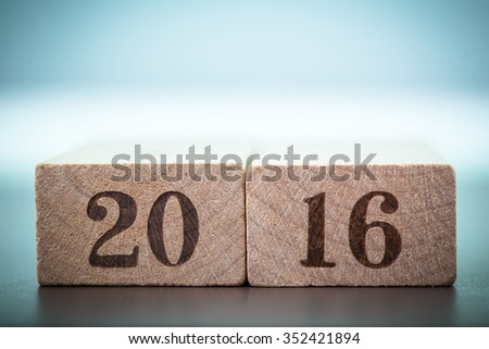 Abstract year 2016 number on wood block is coming concept. Happy New Year 2016  - stock photo