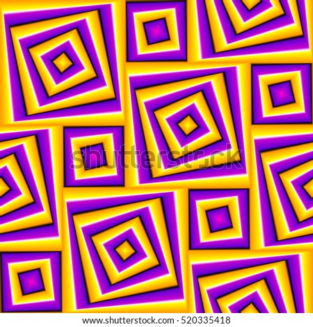 Abstract yellow and purple background with squares (motion illusion). Seamless pattern.