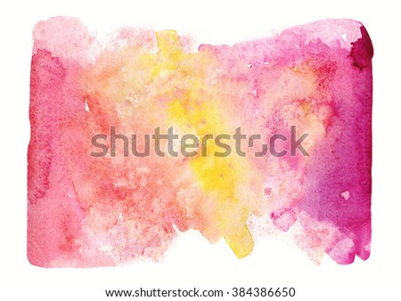 Abstract yellow and red  watercolor background. Ink illustration. Imitation water, sky or sea. Ombre effect. Hand painted background. - stock photo