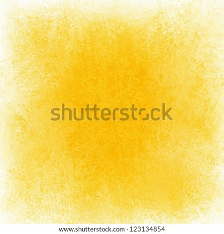 abstract yellow background white grunge border, bright primary yellow color with white edges, vintage grunge background texture color splash on white blank center for brochure text fun gold background - stock photo