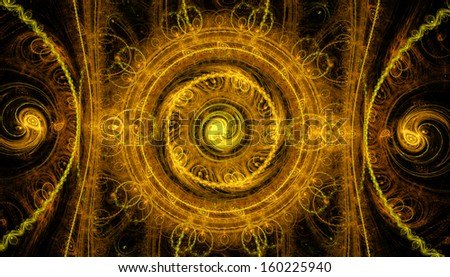 Abstract yellow background with yin-yang symbols - stock photo