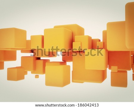 Abstract yellow cubes. 3D illustration