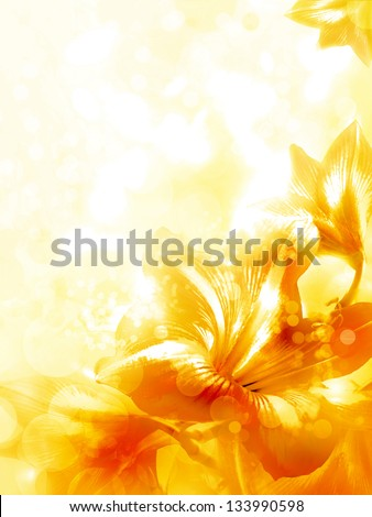 Abstract yellow flower card/ Beautiful flower background/ Spring background - stock photo
