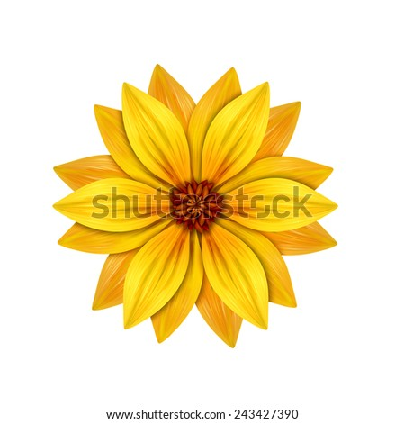 abstract yellow flower illustration isolated on white background, single design element - stock photo