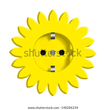 Abstract yellow flower with power socket - stock photo