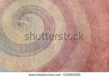 Abstract yellow gold snail curve pattern on grunge floor abstract pattern art pattern hand made pattern artisan pattern red pattern vintage pattern pre-historic pattern  - stock photo