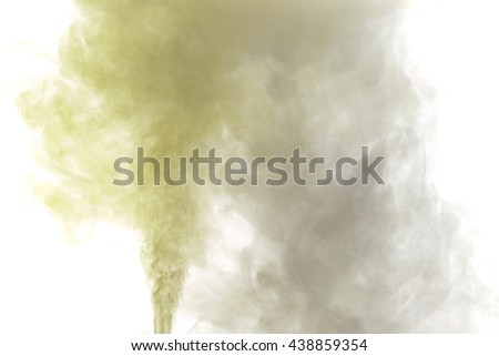 Abstract yellow gray water vapor on a white background. Texture. Design elements. Abstract art. Steam the humidifier. Macro shot.