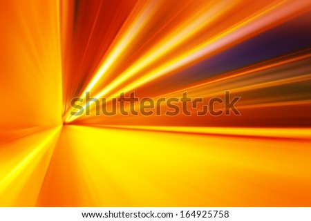 Abstract yellow hallway with motion blur. - stock photo