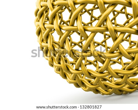 Abstract yellow sphere part on white background