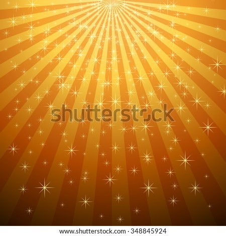 Abstract yellow star burst with star fall background.  - stock photo