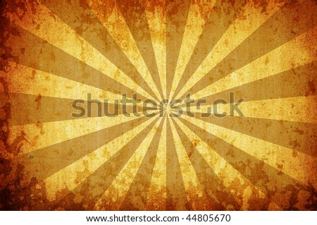 abstract yellow vintage grunge background with sun rays for multiple uses