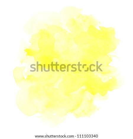 abstract yellow watercolor on white background - stock photo
