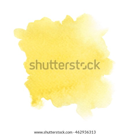 Abstract yellow watercolor on white background.