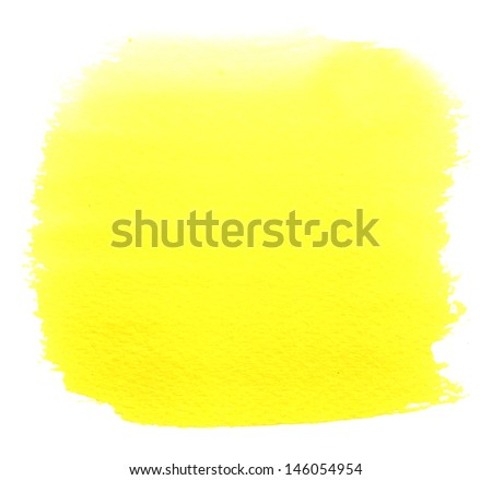 Abstract yellow watercolor shape - stock photo
