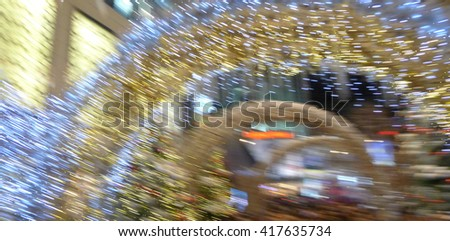 Abstract zoom effect time machine tunnel speed dimension Christmas concept - stock photo