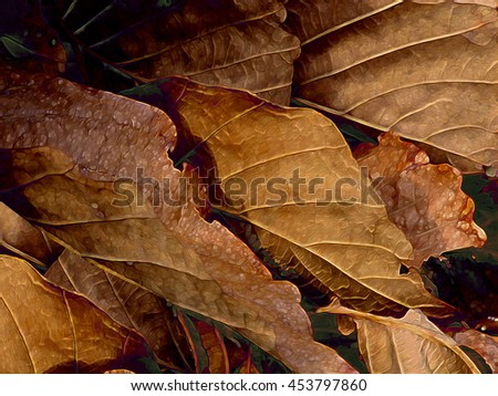 Abstracted illustration of a leafy plant. - stock photo