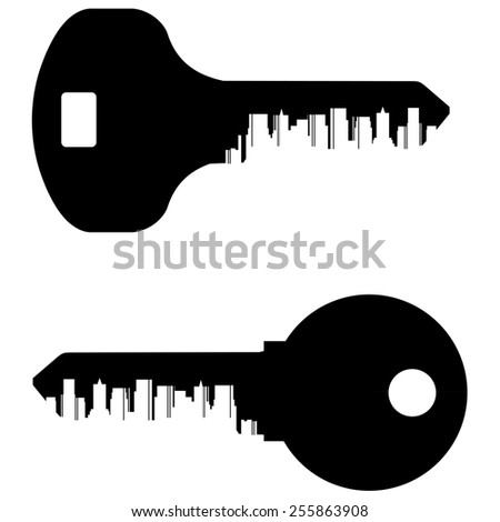 Abstraction. black keys and the city on a white background - stock photo