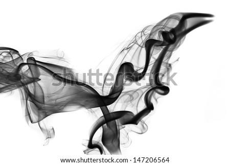 Abstraction: black smoke shape and swirls on white - stock photo