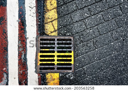 abstraction of steel sewer on floor - stock photo