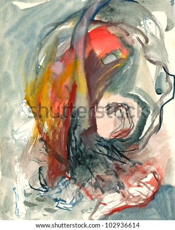 Abstraction. Painting. (Abstractly conceived picture without a specific concept. Mixed Media: water colors and ink blue.) - stock photo