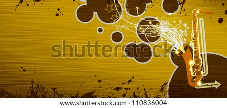 Abstrat color Saxophone music background with space - stock photo