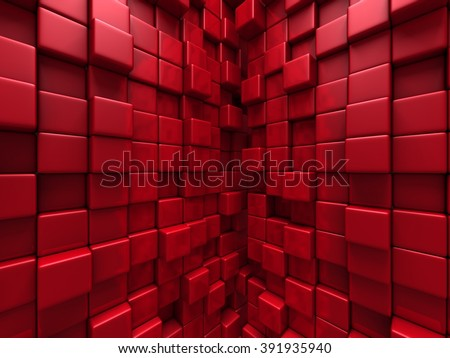 Abstratc Red Cube Blocks Wall Background. 3d Render Illustration - stock photo
