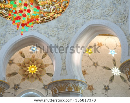 ABU DHABHI, UAE - JUN 8: View of the grand Sheikh Zayed mosque - Decoration of Sheikh Zayed Mosque at Abu Dhabi, which is the pride of the gulf region where this photo was taken on 8-Jun-2015  - stock photo