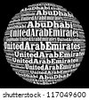 Abu Dhabi capital city of United Arab Emirates info-text graphics and arrangement concept on black background (word cloud) - stock vector