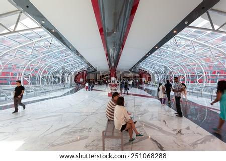 ABU DHABI - DEC 19: Ferrari World Theme Park entrance hall interior. December 19, 2014 in Abu Dhabi, United Arab Emirates - stock photo
