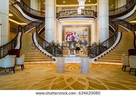 in the summer of 2016 modern and bright interior marble decoration in