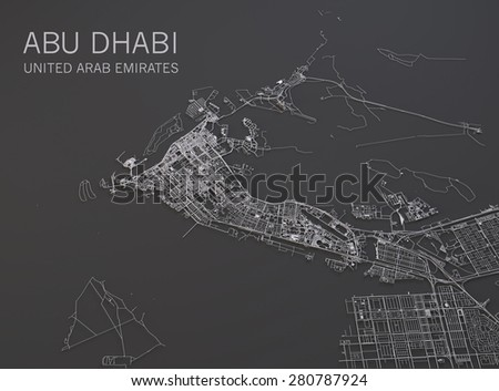 Abu Dhabi map, satellite view, map 3d - stock photo