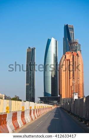 Abu Dhabi new district with skyscrapers construction. United Arab Emirates