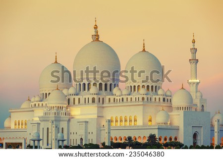 Abu Dhabi Sheikh Zayed Mosque at sunset - stock photo