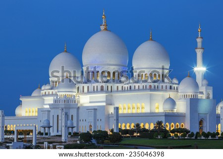 Abu Dhabi Sheikh Zayed Mosque by night - stock photo