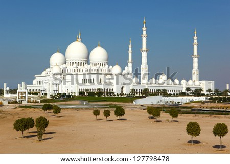 Abu Dhabi Sheikh Zayed White Mosque, Abu Dhabi, UAE - stock photo