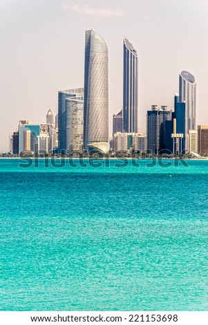 Abu Dhabi Skyline, United Arab Emirates - stock photo
