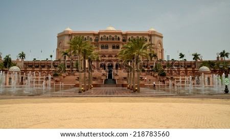 ABU DHABI, UAE - AUGUST 17: Emirates Palace is a luxurious 7 star hotel originally conceived as a venue for government summits and conferences in the Persian Gulf. Abu Dhabi, UAE - Aug 17, 2014 - stock photo