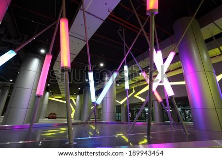 ABU DHABI, UAE - DEC 26: Contemporary architecture at Ferrari World in Abu Dhabi. December 26, 2013 in Abu Dhabi, United Arab Emirates - stock photo