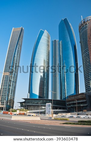 ABU DHABI, UAE - DECEMBER 22: Abu Dhabi Downtown streets with skyscrapers on December 22, 2014. United Arab Emirates