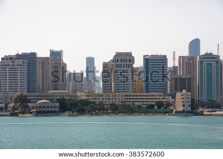 ABU DHABI, UAE - DECEMBER 24: Sea front view with luxurious buildings in Abu Dhabi on December 24, 2014. United Arab Emirates