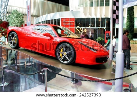 Abu Dhabi, UAE - Feb 03, 2014 - Ferrari car on display at Ferrari World - the largest indoor amusement park in the world