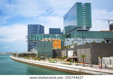 ABU DHABI, UAE - MARCH 26, 2014: Architecture of the Cleveland Clinic in Abu Dhabi, UAE. Cleveland Clinic Abu Dhabi is one of the largest medical centers in the middle east with 364 bed facility.